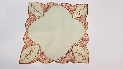 ANTIQUE LITE GREEN SILK ~RUST ART DECO FLORAL PRINT GLOWING HANKIE Art Deco Floral Print