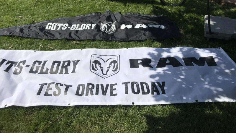 Dodge Guts-Glory Ram Advertising Feather Vertical Flag & White Banner