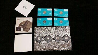 Set 4 NEW NO BOX Tile Pro Black Tracker + 4 Replaceable Batteries T6001B Bundle
