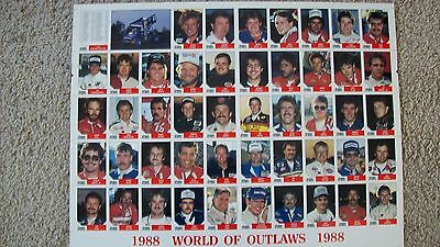 1988 World Of Outlaws Uncut Sheet w/Jeff Gordon's 2nd card Rare only 1,000 made