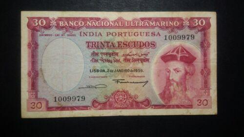 Portugal Portuguese India 30 Escudos 2 January 1959 RARE