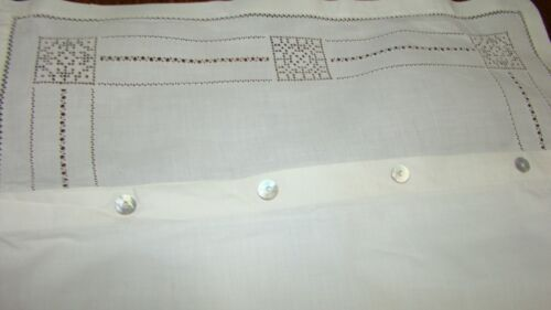 PAIR VINTAGE VICTORIAN MY IN ITALY OFF WHITE LINEN Pillowcases Hand Crochet Lace