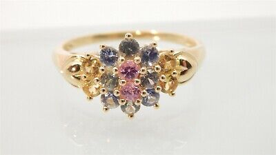 14k Gold Yellow Blue Pink Green Genuine Sapphire Cluster Ring 1.4 TCW Size 9.75