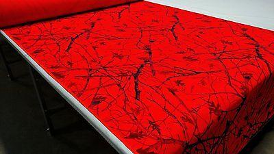 True Timber Blaze Orange Snowfall Camo Poly Cotton Canvas Fabric 60