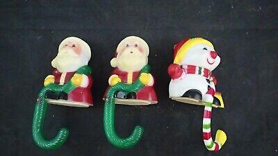 Set of 3 VTG Santa Snowman Stocking Holders Hangers Sun Hill Industries 1980's