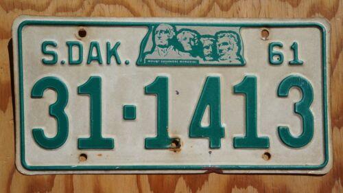 1961 South Dakota MT Rushmore License Plate