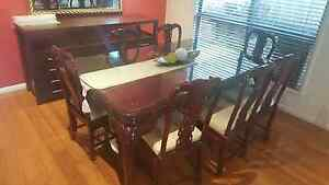 8 Seater Timber Dining table with coffee table & side tables Casula Liverpool Area Preview