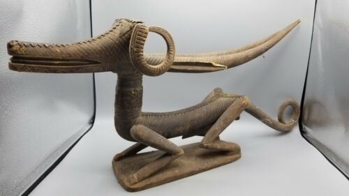 BAMANA BAMBARA CHI WARA WOOD HEADDRESS w METAL DETAILS MALI AFRICAN TRIBAL ART