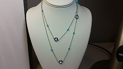 """Genuine Sleeping Beauty Turquoise & Blue Topaz 925 Silver Station Necklace - 36"""""""