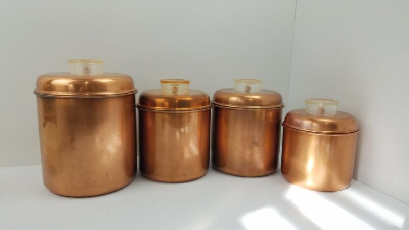 Revere Ware Solid Copper Canister Set of 4 Pre 1968 Rome, NY VTG Double Circle
