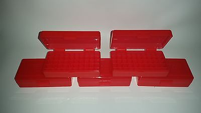 BERRY'S PLASTIC AMMO BOXES (5) RED 50 Round 9MM / 380 - FREE SHIPPING