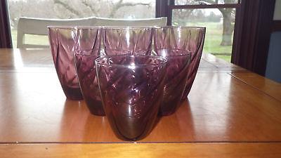 Vintage Westmoreland Amethyst Glasses Tumblers 3 10oz 3 6 oz flared bowl