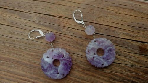 Antique Carved Amethyst Silver Earrings