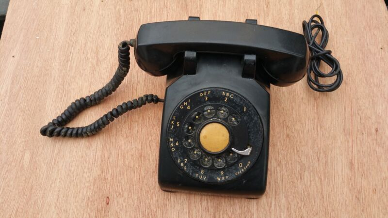 Black Western Electric Desk Metal Dial Telephone
