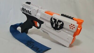 Nerf Rival XVIII-500 Gun With Blue Flag Tested Working White And Black