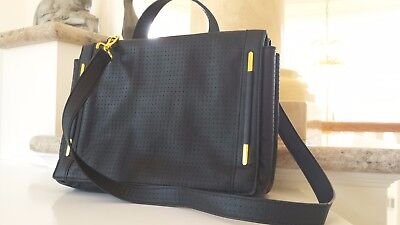 Black Leather French Purse - FRENCH CONNECTION corrugated faux black leather messenger purse