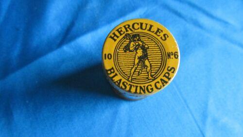 Very Rare Round Yellow 10 Count No. 6 Strength Hercules Powder Blasting Cap Tin