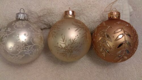 Christmas ornaments set of 3 glass gold tan silver different designs MAX860