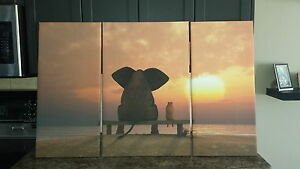 3 Piece Framed Elephant & Friend Canvas