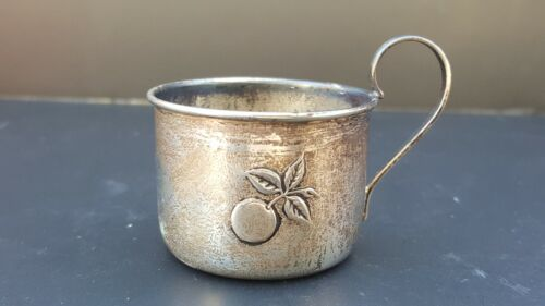Vtg Old Antique Weidlich Fine Sterling Silver Baby Cup Engraved EUCLID WILLIAMS