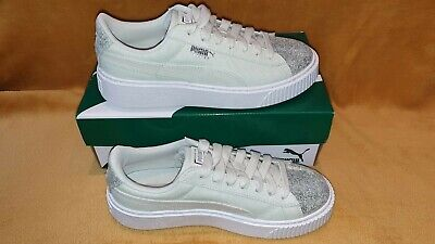 Puma Basket Womens Trainers Mint Green Silver Sparkle White Size 4 UK BNIB!!
