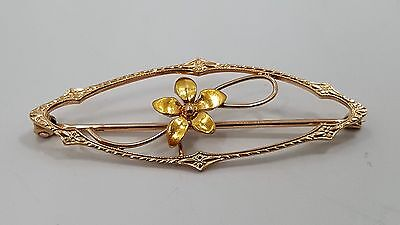 Nice 10K Yellow Gold Detailed Textured Nouveau Flower Brooch Pin B2630