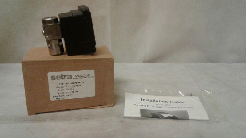 SETRA MODEL 230 PRESSURE TRANSMITTER 24VDC / 4-20MA - 2301100PD2F11B No Bracket