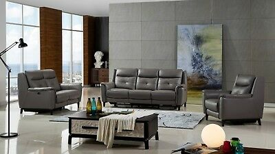 3 PC Modern Gray Top Grain Cow Hide Leather Electric Recliner Sofa Set