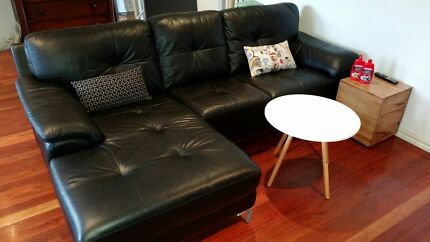 Black leather couch with chaise Chadstone Monash Area Preview