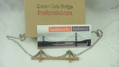 "GOLDEN GATE BRIDGE PENDANT BRONZE TONE 18"" NECKLACE IN ORIGINAL BOX FREEFORMIND"