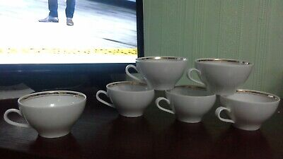 Set of 6 cups Kahla Germany GDR vintage ceramic-white with gold banding-in vgc
