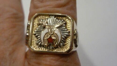 ANTIQUE 10K GOLD MASONIC SHRINER ENAMEL RING SIZE 10 3/4 EXCELLENT CONDITION