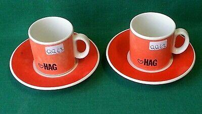 COPPIA TAZZINE + PIATTINI CAFFE' HAG LOGO ARANCIONE PORCELLANA ACF VINTAGE. QQ63