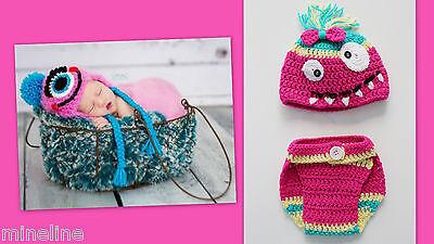 ★★★NEU Baby Fotoshooting Kostüm Kleines Monster pink gelb grün 0-3 (Kleine Monster Baby Kostüme)