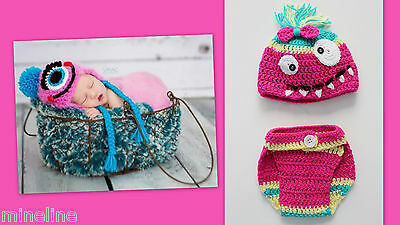 ★★★NEU Baby Fotoshooting Kostüm Kleines Monster pink gelb grün 0-3 Monate★★★Nr.P