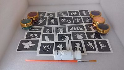 Halloween themed mini glitter tattoo set inc stencils + glitter + glue - Halloween Themed Tattoo