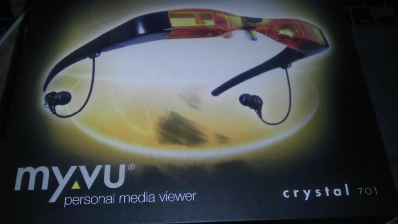 WEARABLE FPV VIDEO VIEWER LCD VIDEO GLASSES IPOD+COMPOSITE RCA MYVU Crystal 701