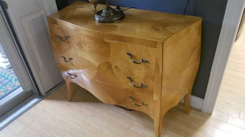 Burlwood Bombay Style Commode Chest. 3 Drawer Paper Lined. Vintage .Made Italy