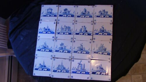 A Set Of 16 Dutch Delft Landscape Scenes