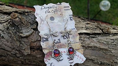 Dragonfly Earrings with Dragon's Breath Opals Spring Gift Sale Collectible Jewel