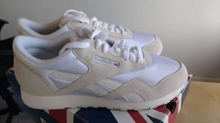 REEBOK Classic Nylon Sneakers White/Light Gray Women 9 (US)