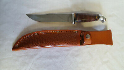 Robeson 30 USA Fixed Blade Knife Stacked Leather Handle With Leather Sheath