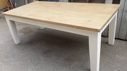 Revamped timber dining table in stock