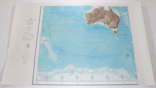 The World Australia Antarctica 1961 Vintage Original US Navy Hydrographic Map