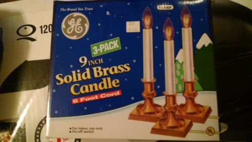 GE Christmas Electric Brass Candles 3 pack