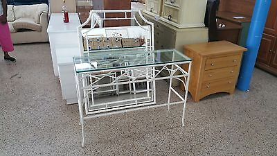 ELEGANT POLYCHROME FAUX BAMBOO CHINESE CHIPPENDALE TOLE CONSOLE & MIRROR WOW - P