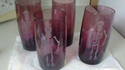 Etched Drinking Glasses highball tumblers 4 RARE Halloween Skeleton  GOTHIC](Skeleton Drinking)