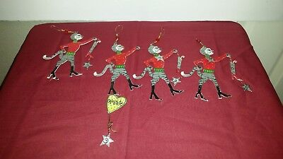 Lot of 4 Vintage Christmas Cats Flat Metal Christmas Tree Ornament Hand Painted
