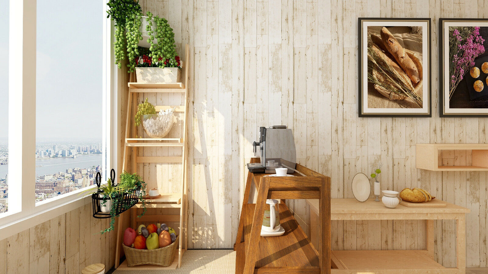 18Distressed Faux Wood Plank Peel & Stick Wallpaper Off Whit