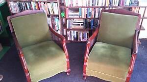 2 green velour armchairs Mirboo North South Gippsland Preview